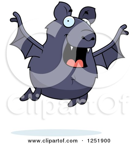 Clipart of a Happy Vampire Bat Flying - Royalty Free Vector Illustration by Cory Thoman