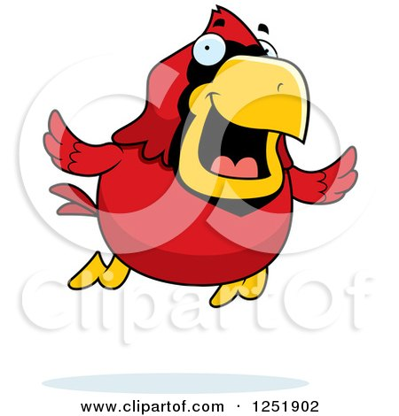Clipart of a Happy Red Cardinal Bird Flying - Royalty Free Vector Illustration by Cory Thoman