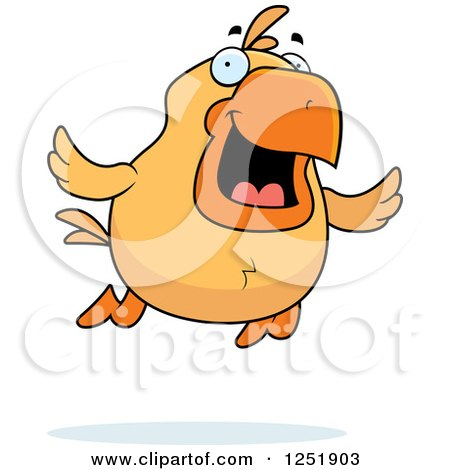 Clipart of a Happy Flying Chick - Royalty Free Vector Illustration by Cory Thoman