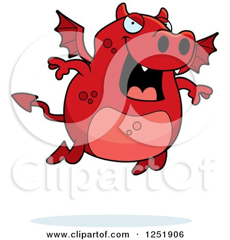 Clipart of a Flying Red Devil - Royalty Free Vector Illustration by Cory Thoman