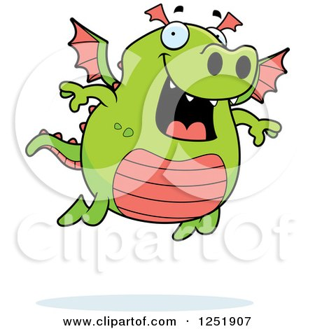 Clipart of a Happy Green Dragon Flying - Royalty Free Vector Illustration by Cory Thoman