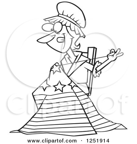 Clipart of a Black and White Cartoon Betsy Ross Sewing the First American Flag - Royalty Free Vector Illustration by toonaday