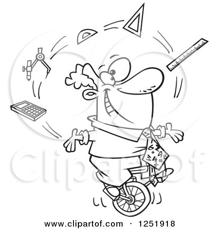 Clipart of a Black and White Cartoon Male Math Teacher Juggling on a Unicycle - Royalty Free Vector Illustration by toonaday