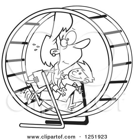 Clipart of a Black and White Cartoon Mother Struggling with Parenting and Work in a Hamster Wheel - Royalty Free Vector Illustration by toonaday