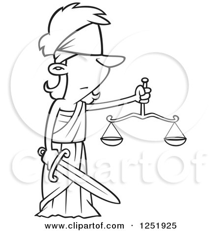 Clipart of a Black and White Cartoon Lady Justice Blindfolded with a Sword and Scales - Royalty Free Vector Illustration by toonaday