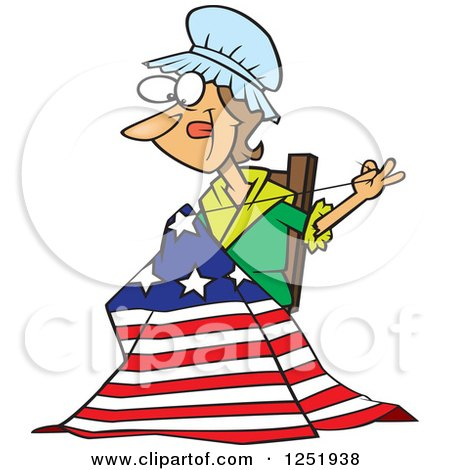 Clipart of a Cartoon Betsy Ross Sewing the First American Flag - Royalty Free Vector Illustration by toonaday