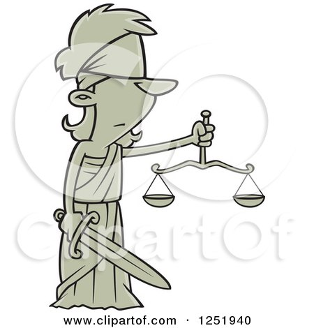 Clipart of a Cartoon Lady Justice Blindfolded with a Sword and Scales - Royalty Free Vector Illustration by toonaday