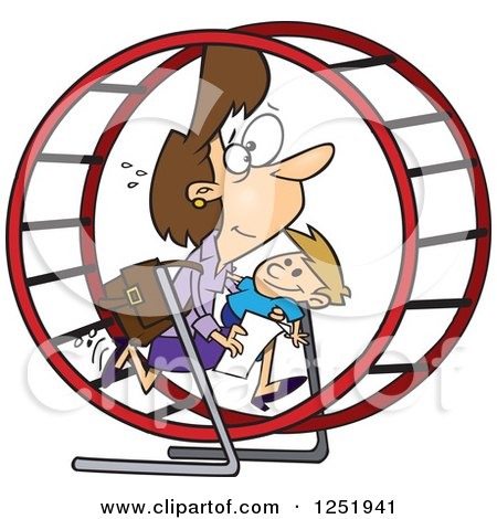 Clipart of a Cartoon Caucasian Mother Struggling with Parenting and Work in a Hamster Wheel - Royalty Free Vector Illustration by toonaday