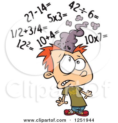 Clipart of a Red Haired Caucasian Boy Getting a Sore Head from Math - Royalty Free Vector Illustration by toonaday