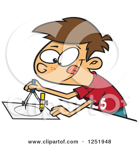 Clipart of a Brunette Caucasian Boy Using a Drafting Compass - Royalty Free Vector Illustration by toonaday