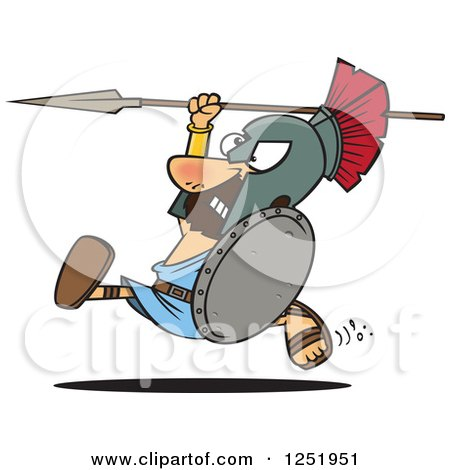 Clipart of a Cartoon Spartan Warrior Running with a Spear and Shield - Royalty Free Vector Illustration by toonaday