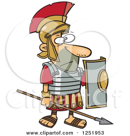 Clipart of a Cartoon Roman Soldier Standing with a Spear and Shield - Royalty Free Vector Illustration by toonaday