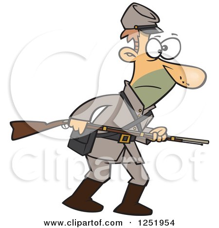 Clipart of a Confederate Soldier with a Rifle - Royalty Free Vector Illustration by toonaday