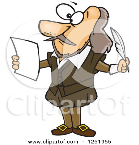 Clipart of a Cartoon Shakespeare Writing a Play - Royalty Free Vector Illustration by toonaday