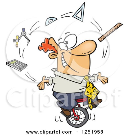 Clipart of a Cartoon White Male Math Teacher Juggling on a Unicycle - Royalty Free Vector Illustration by toonaday