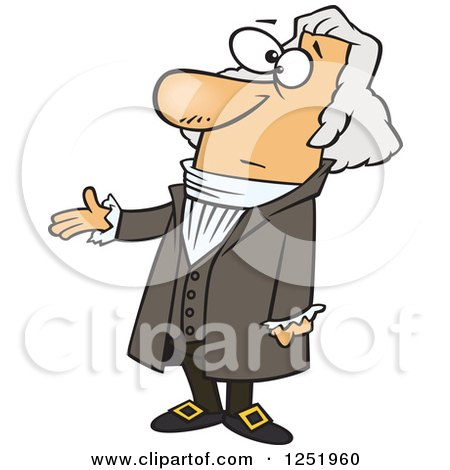 Clipart of a Cartoon George Washington Presenting - Royalty Free Vector Illustration by toonaday
