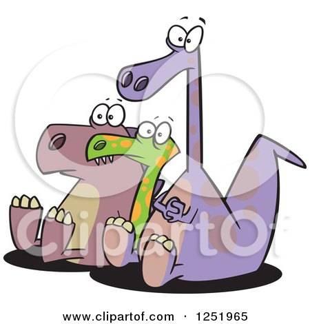 Clipart Of Three Dinosaurs In An Audience Royalty Free Vector Illustration
