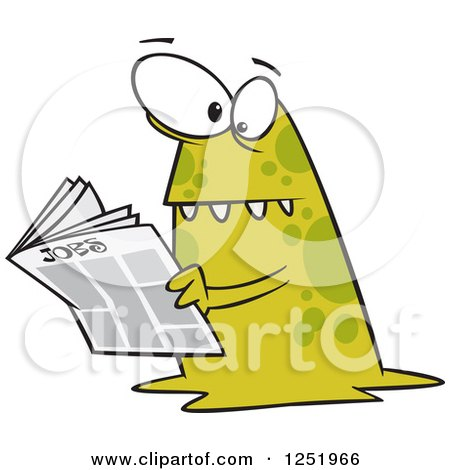 Clipart of a Spotted Green Monster Reading the Job Classifieds - Royalty Free Vector Illustration by toonaday