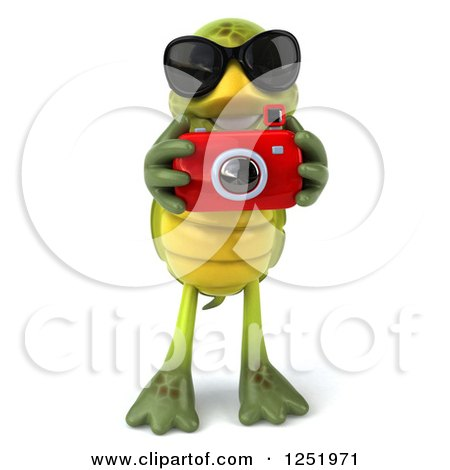 Clipart of a 3d Tortoise Wearing Sunglasses and Taking Pictures with a Camera 3 - Royalty Free Illustration by Julos