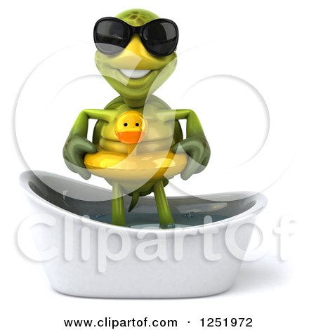 Clipart of a 3d Tortoise Wearing Sunglasses and Standing in a Tub with a Duck Inner Tube - Royalty Free Illustration by Julos