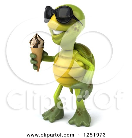 Clipart of a 3d Tortoise Wearing Sunglasses and Holding an Ice Cream Cone 2 - Royalty Free Illustration by Julos