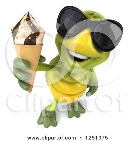 Clipart of a 3d Tortoise Wearing Sunglasses and Holding up an Ice Cream Cone - Royalty Free Illustration by Julos