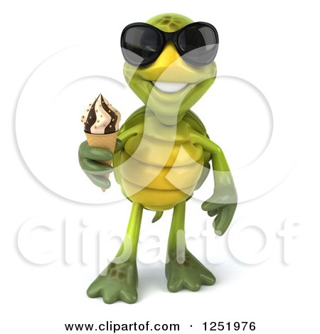 Clipart of a 3d Tortoise Wearing Sunglasses and Holding an Ice Cream Cone - Royalty Free Illustration by Julos