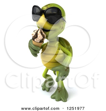 Clipart of a 3d Tortoise Wearing Sunglasses Walking and Eating an Ice Cream Cone 2 - Royalty Free Illustration by Julos