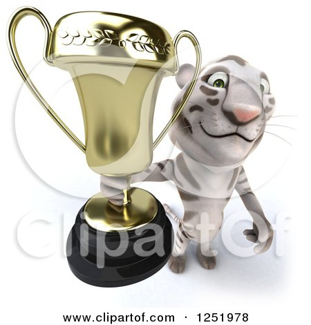 Clipart of a 3d White Tiger Holding up a Trophy Cup 2 - Royalty Free Illustration by Julos