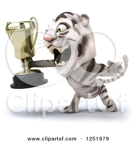Clipart of a 3d White Tiger Roaring and Holding a Trophy Cup 2 - Royalty Free Illustration by Julos