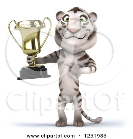 Clipart of a 3d White Tiger Holding and Pointing to a Trophy Cup - Royalty Free Illustration by Julos