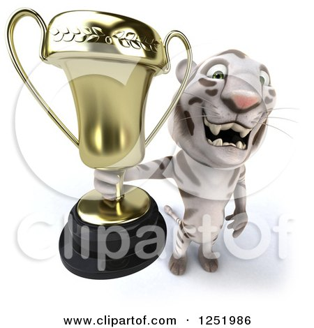 Clipart of a 3d White Tiger Holding up a Trophy Cup - Royalty Free Illustration by Julos