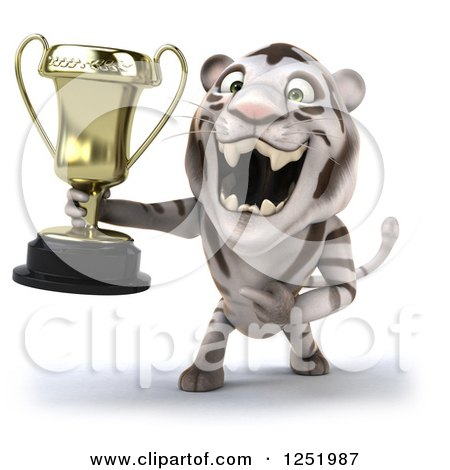 Clipart of a 3d White Tiger Roaring and Holding a Trophy Cup - Royalty Free Illustration by Julos