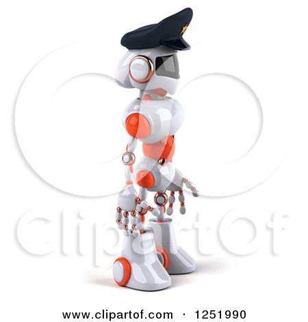Clipart of a 3d White and Orange Male Techno Robot Police Officer 2 - Royalty Free Illustration by Julos