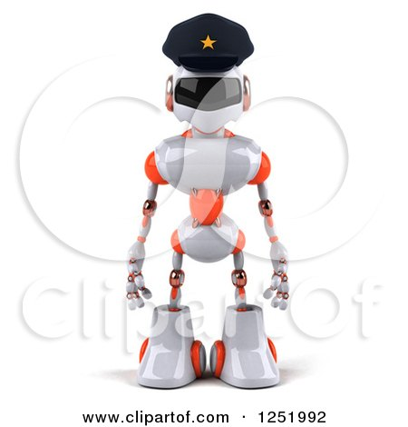 Clipart of a 3d White and Orange Male Techno Robot Police Officer - Royalty Free Illustration by Julos