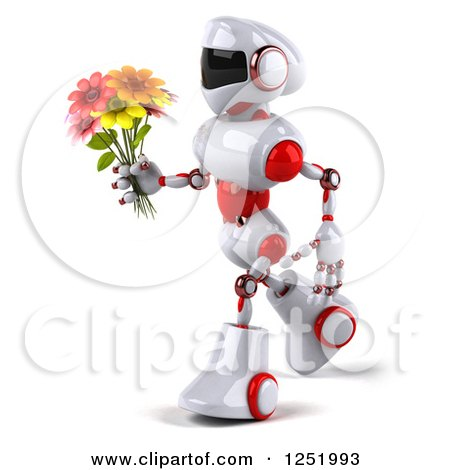 Clipart of a 3d White and Red Robot Walking and Holding a Flower Bouquet - Royalty Free Illustration by Julos