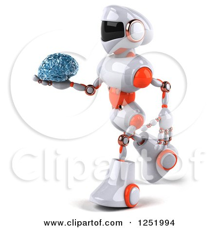Clipart of a 3d White and Orange Robot Walking and Holding a Glass Brain - Royalty Free Illustration by Julos