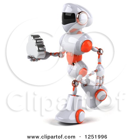 Clipart of a 3d White and Orange Robot Holding a Cloud 2 - Royalty Free Illustration by Julos