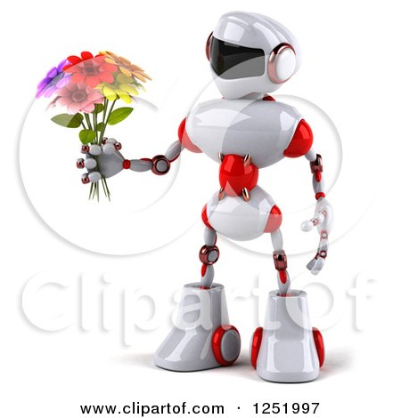 Clipart of a 3d White and Red Robot Holding a Flower Bouquet - Royalty Free Illustration by Julos