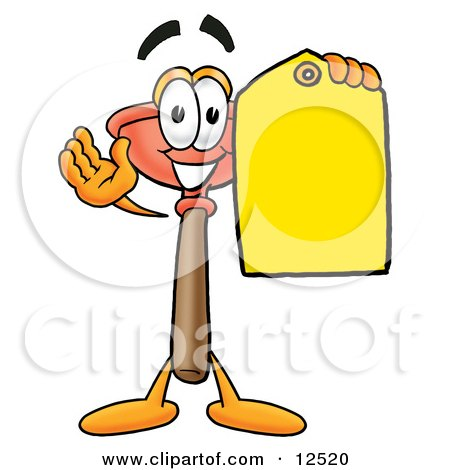 Clipart Picture of a Sink Plunger Mascot Cartoon Character Holding a Yellow Sales Price Tag by Toons4Biz