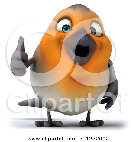 Clipart of a 3d Red Robin Bird Holding a Thumb up - Royalty Free Illustration by Julos