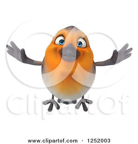 Clipart of a 3d Red Robin Bird Flying - Royalty Free Illustration by Julos