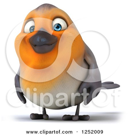 Clipart of a 3d Red Robin Bird - Royalty Free Illustration by Julos