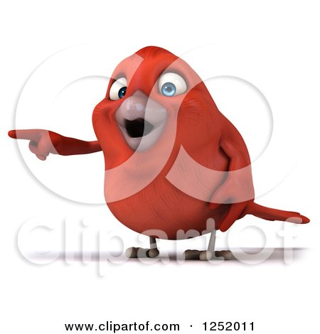 Clipart of a 3d Happy Red Bird Pointing - Royalty Free Illustration by Julos