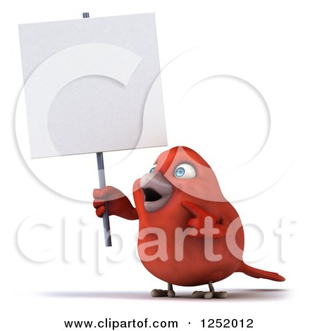 Clipart of a 3d Happy Red Bird Holding and Pointing to a Blank Sign - Royalty Free Illustration by Julos
