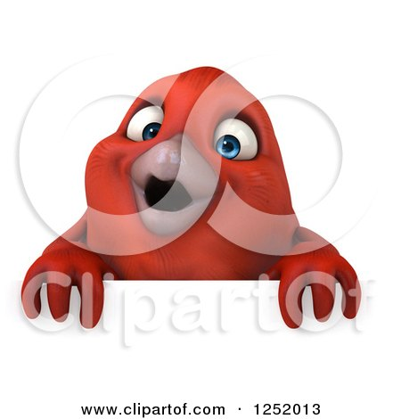 Clipart of a 3d Happy Red Bird over a Sign - Royalty Free Illustration by Julos