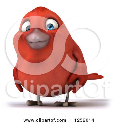 Clipart of a 3d Happy Red Bird - Royalty Free Illustration by Julos