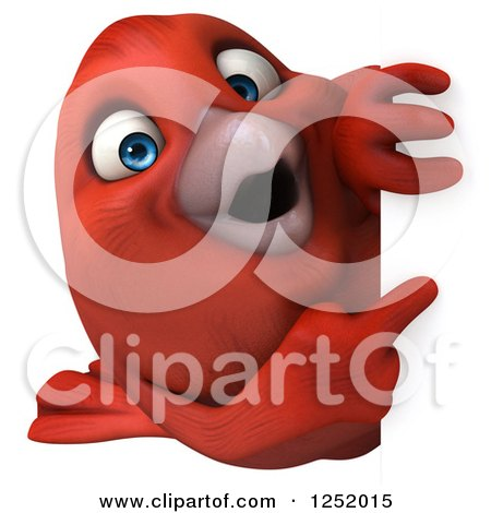 Clipart of a 3d Happy Red Bird Pointing Around a Sign - Royalty Free Illustration by Julos