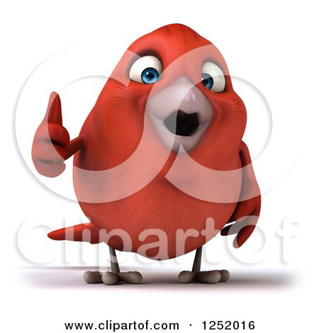 Clipart of a 3d Happy Red Bird Holding a Thumb up - Royalty Free Illustration by Julos