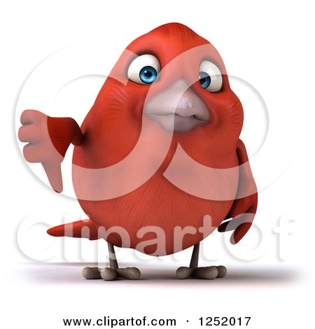 Clipart of a 3d Displeased Red Bird Holding a Thumb down - Royalty Free Illustration by Julos